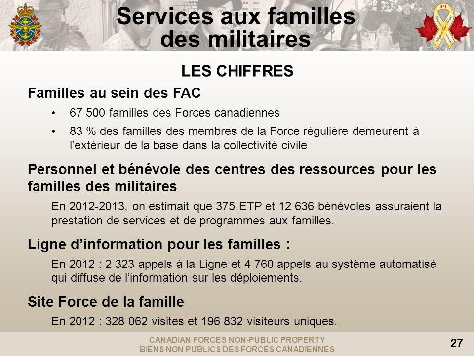CANADIAN FORCES NON-PUBLIC PROPERTY BIENS NON PUBLICS DES FORCES CANADIENNES 27 LES CHIFFRES Familles au sein des FAC 67 500 familles des Forces canad
