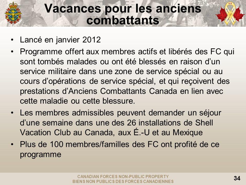 CANADIAN FORCES NON-PUBLIC PROPERTY BIENS NON PUBLICS DES FORCES CANADIENNES 34 Vacances pour les anciens combattants Lancé en janvier 2012 Programme