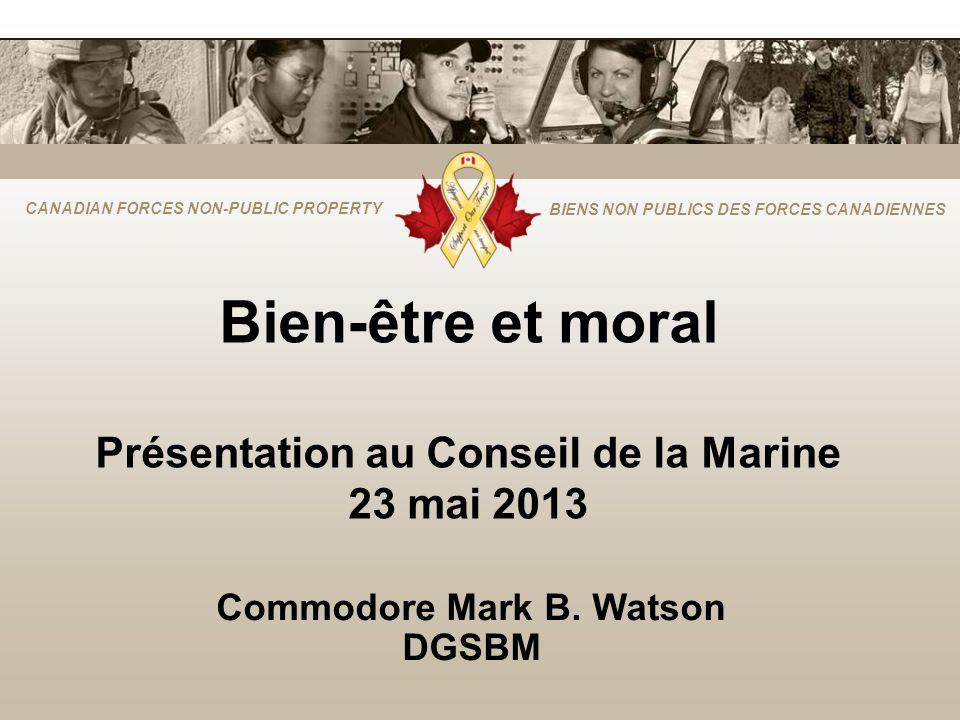 CANADIAN FORCES NON-PUBLIC PROPERTY BIENS NON PUBLICS DES FORCES CANADIENNES Bien-être et moral Présentation au Conseil de la Marine 23 mai 2013 Commo