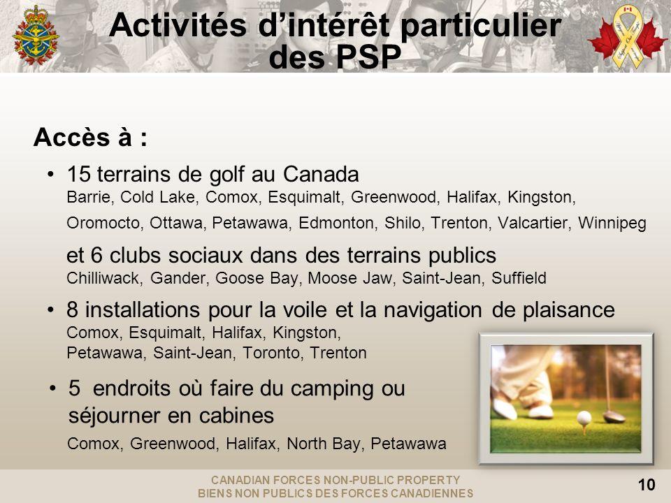 CANADIAN FORCES NON-PUBLIC PROPERTY BIENS NON PUBLICS DES FORCES CANADIENNES 10 Activités dintérêt particulier des PSP Accès à : 15 terrains de golf au Canada Barrie, Cold Lake, Comox, Esquimalt, Greenwood, Halifax, Kingston, Oromocto, Ottawa, Petawawa, Edmonton, Shilo, Trenton, Valcartier, Winnipeg et 6 clubs sociaux dans des terrains publics Chilliwack, Gander, Goose Bay, Moose Jaw, Saint-Jean, Suffield 8 installations pour la voile et la navigation de plaisance Comox, Esquimalt, Halifax, Kingston, Petawawa, Saint-Jean, Toronto, Trenton 5 endroits où faire du camping ou séjourner en cabines Comox, Greenwood, Halifax, North Bay, Petawawa