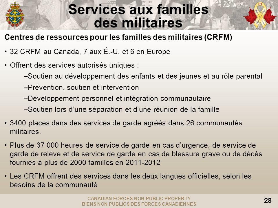CANADIAN FORCES NON-PUBLIC PROPERTY BIENS NON PUBLICS DES FORCES CANADIENNES 28 Centres de ressources pour les familles des militaires (CRFM) 32 CRFM au Canada, 7 aux É.-U.