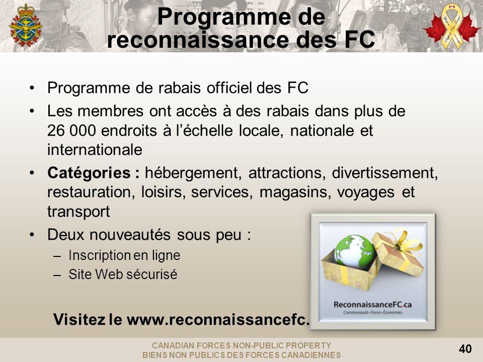 CANADIAN FORCES NON-PUBLIC PROPERTY BIENS NON PUBLICS DES FORCES CANADIENNES 40 Programme de rabais officiel des FC Les membres ont accès à des rabais