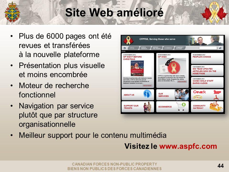 CANADIAN FORCES NON-PUBLIC PROPERTY BIENS NON PUBLICS DES FORCES CANADIENNES 44 Site Web amélioré Plus de 6000 pages ont été revues et transférées à l