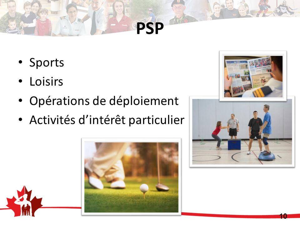 PSP 10 Sports Loisirs Opérations de déploiement Activités dintérêt particulier