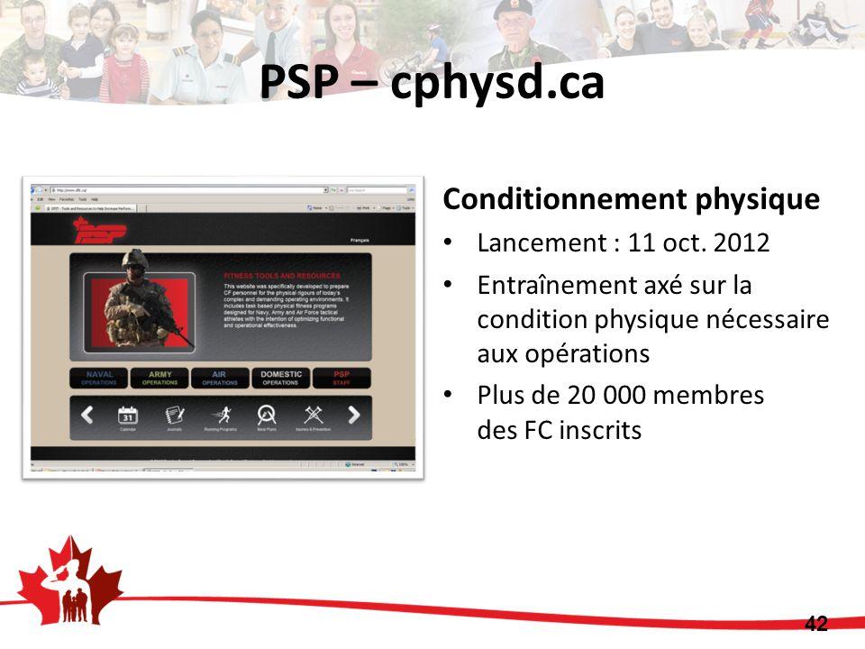 Conditionnement physique Lancement : 11 oct. 2012 Entraînement axé sur la condition physique nécessaire aux opérations Plus de 20 000 membres des FC i