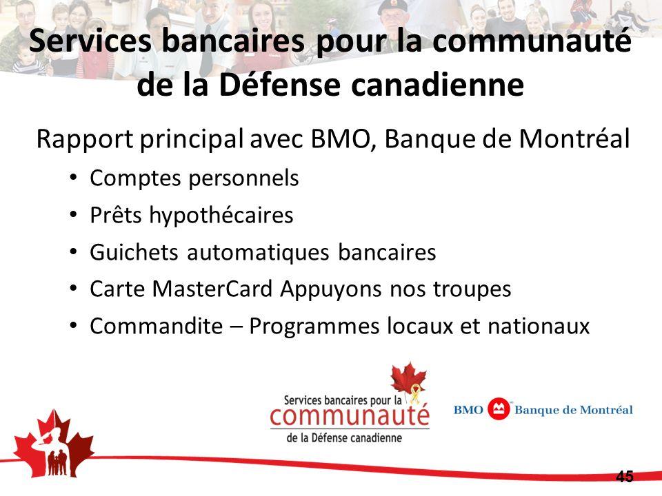 Rapport principal avec BMO, Banque de Montréal Comptes personnels Prêts hypothécaires Guichets automatiques bancaires Carte MasterCard Appuyons nos troupes Commandite – Programmes locaux et nationaux 45 Services bancaires pour la communauté de la Défense canadienne