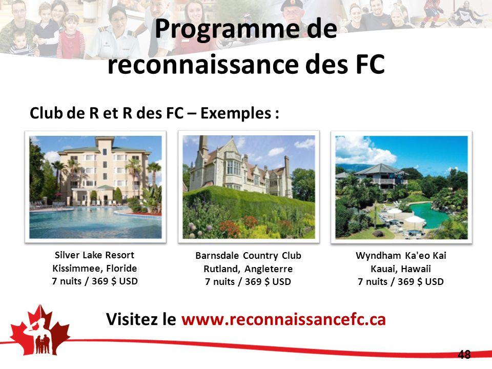 Club de R et R des FC – Exemples : Visitez le www.reconnaissancefc.ca Silver Lake Resort Kissimmee, Floride 7 nuits / 369 $ USD Barnsdale Country Club