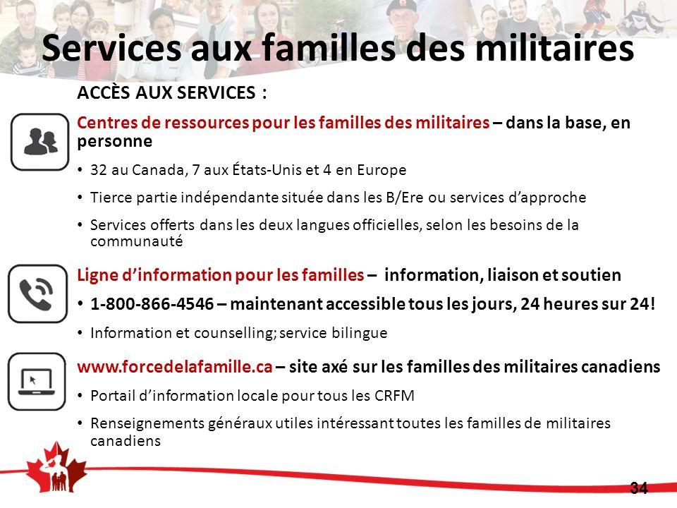 34 ACCÈS AUX SERVICES : Centres de ressources pour les familles des militaires – dans la base, en personne 32 au Canada, 7 aux États-Unis et 4 en Euro