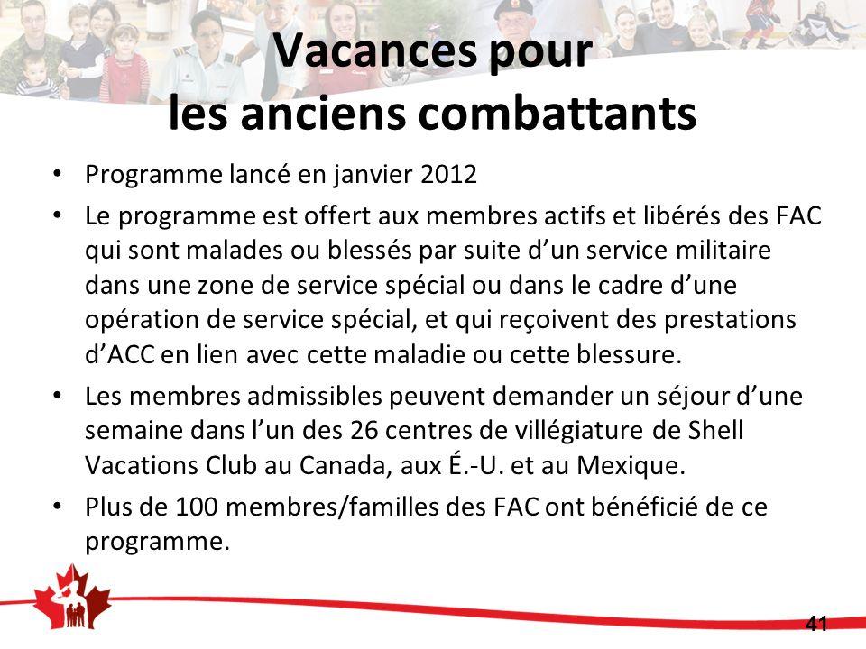Programme lancé en janvier 2012 Le programme est offert aux membres actifs et libérés des FAC qui sont malades ou blessés par suite dun service milita