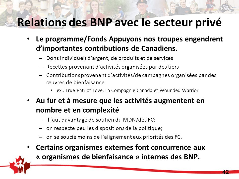 Le programme/Fonds Appuyons nos troupes engendrent dimportantes contributions de Canadiens.