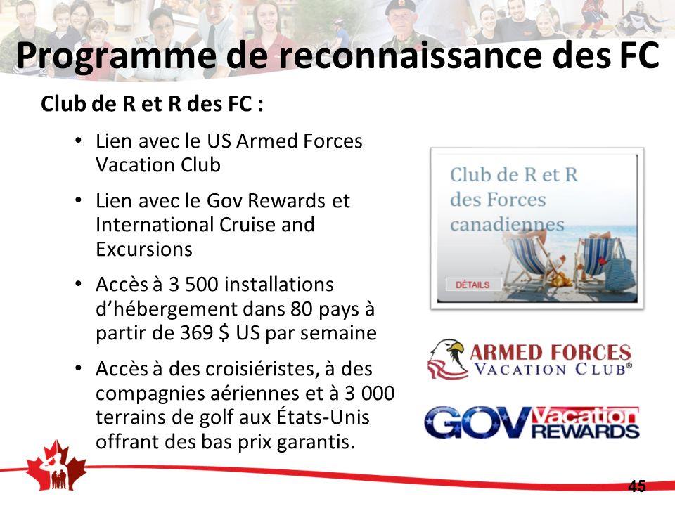 Club de R et R des FC : Lien avec le US Armed Forces Vacation Club Lien avec le Gov Rewards et International Cruise and Excursions Accès à 3 500 insta