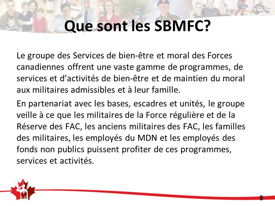 Que sont les SBMFC? Le groupe des Services de bien-être et moral des Forces canadiennes offrent une vaste gamme de programmes, de services et dactivit