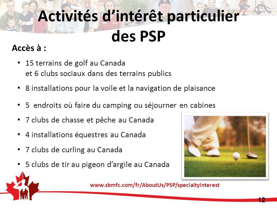 Accès à : 15 terrains de golf au Canada et 6 clubs sociaux dans des terrains publics 8 installations pour la voile et la navigation de plaisance 5 end