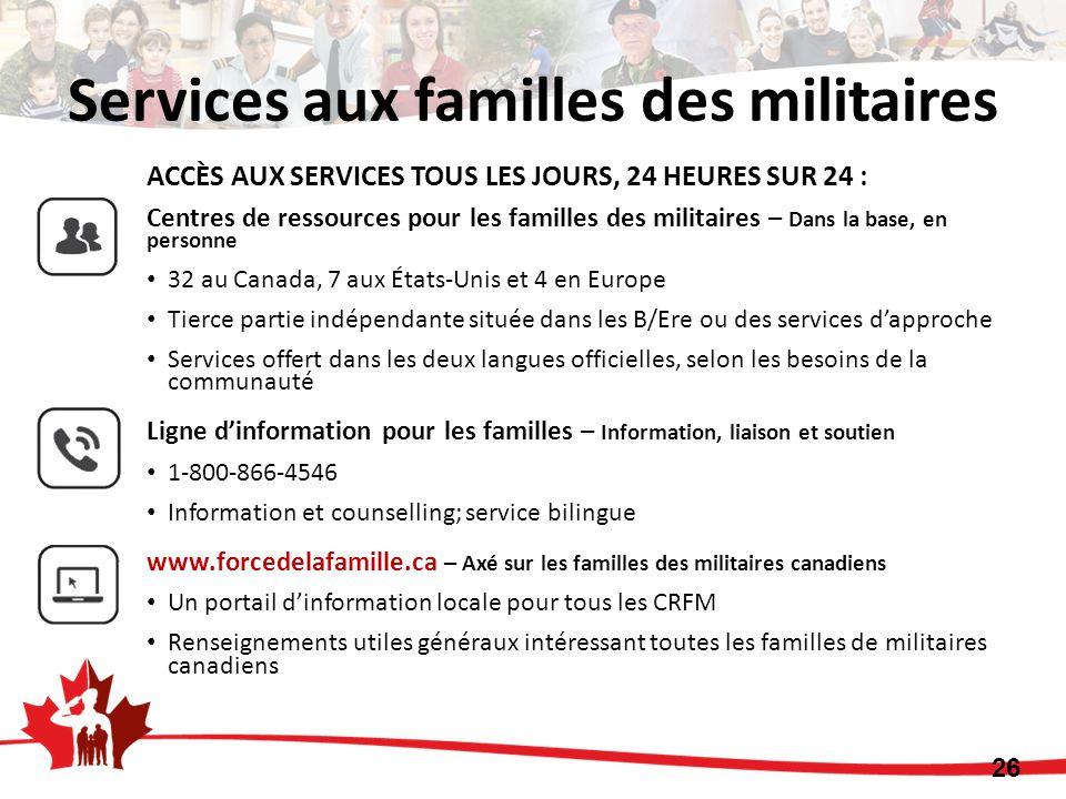 ACCÈS AUX SERVICES TOUS LES JOURS, 24 HEURES SUR 24 : Centres de ressources pour les familles des militaires – Dans la base, en personne 32 au Canada,