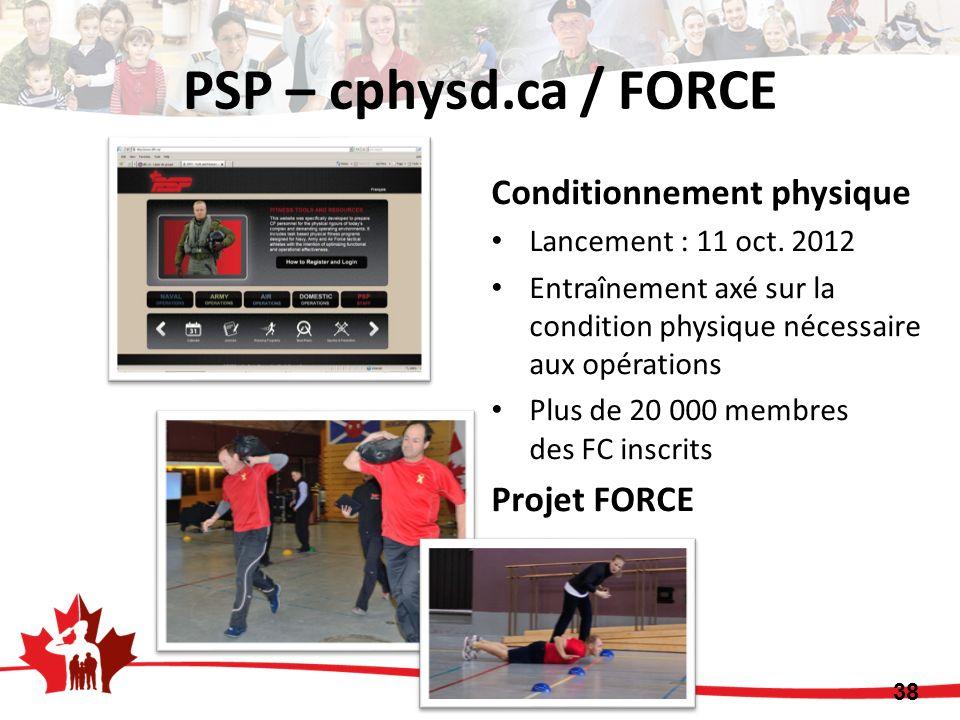 PSP – cphysd.ca / FORCE Conditionnement physique Lancement : 11 oct. 2012 Entraînement axé sur la condition physique nécessaire aux opérations Plus de