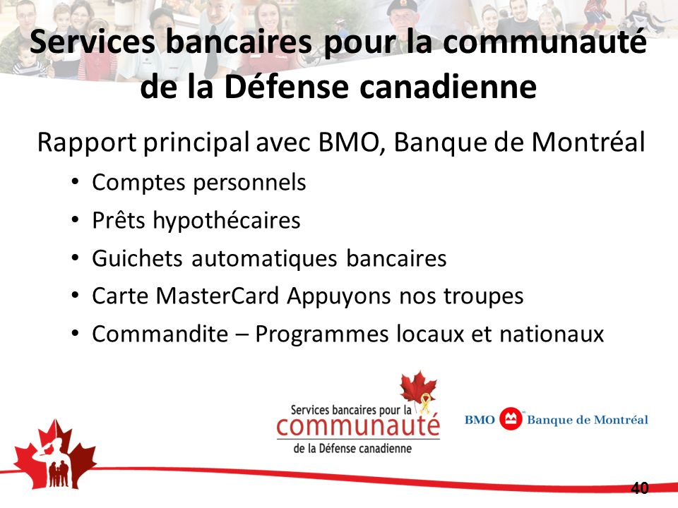 Rapport principal avec BMO, Banque de Montréal Comptes personnels Prêts hypothécaires Guichets automatiques bancaires Carte MasterCard Appuyons nos tr