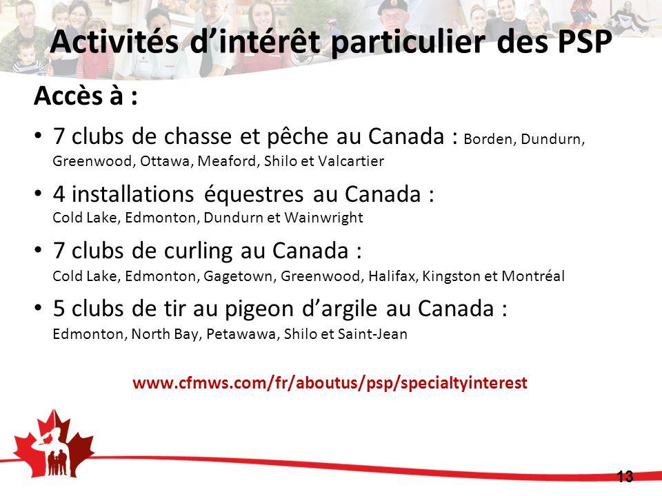 Accès à : 7 clubs de chasse et pêche au Canada : Borden, Dundurn, Greenwood, Ottawa, Meaford, Shilo et Valcartier 4 installations équestres au Canada