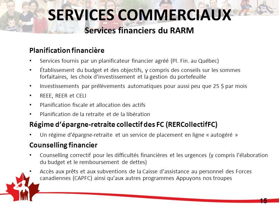 Planification financière Services fournis par un planificateur financier agréé (Pl. Fin. au Québec) Établissement du budget et des objectifs, y compri
