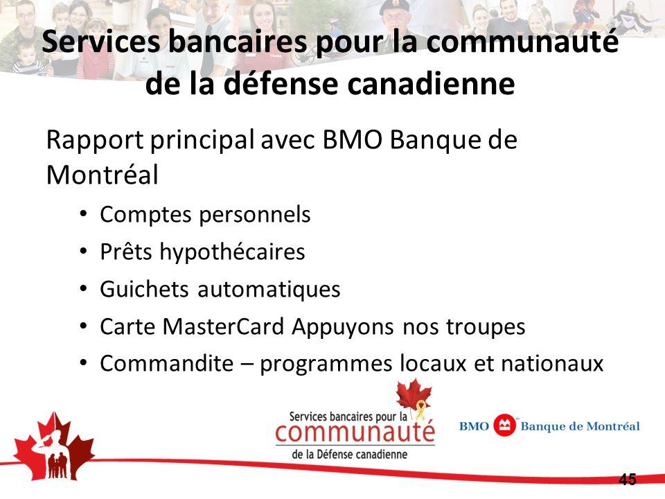 Rapport principal avec BMO Banque de Montréal Comptes personnels Prêts hypothécaires Guichets automatiques Carte MasterCard Appuyons nos troupes Comma