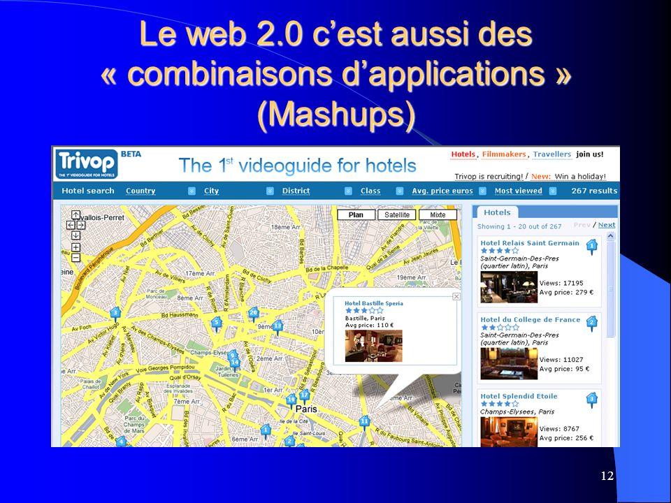 Le web 2.0 cest aussi des « combinaisons dapplications » (Mashups) 12