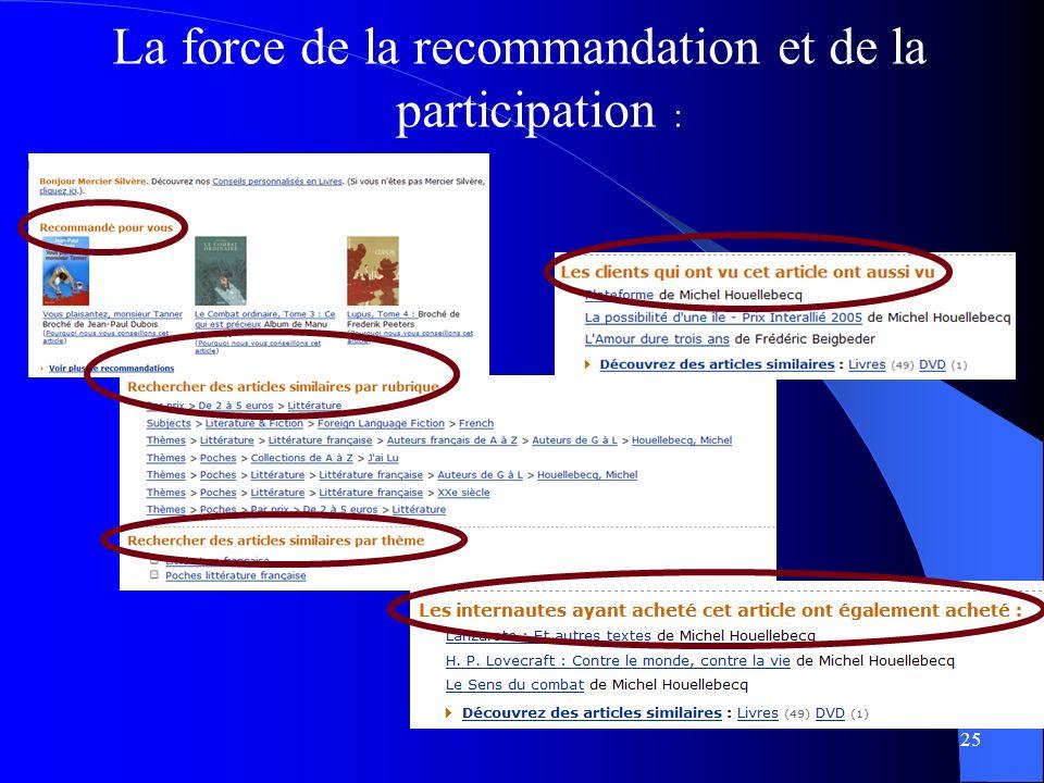 La force de la recommandation et de la participation : 25
