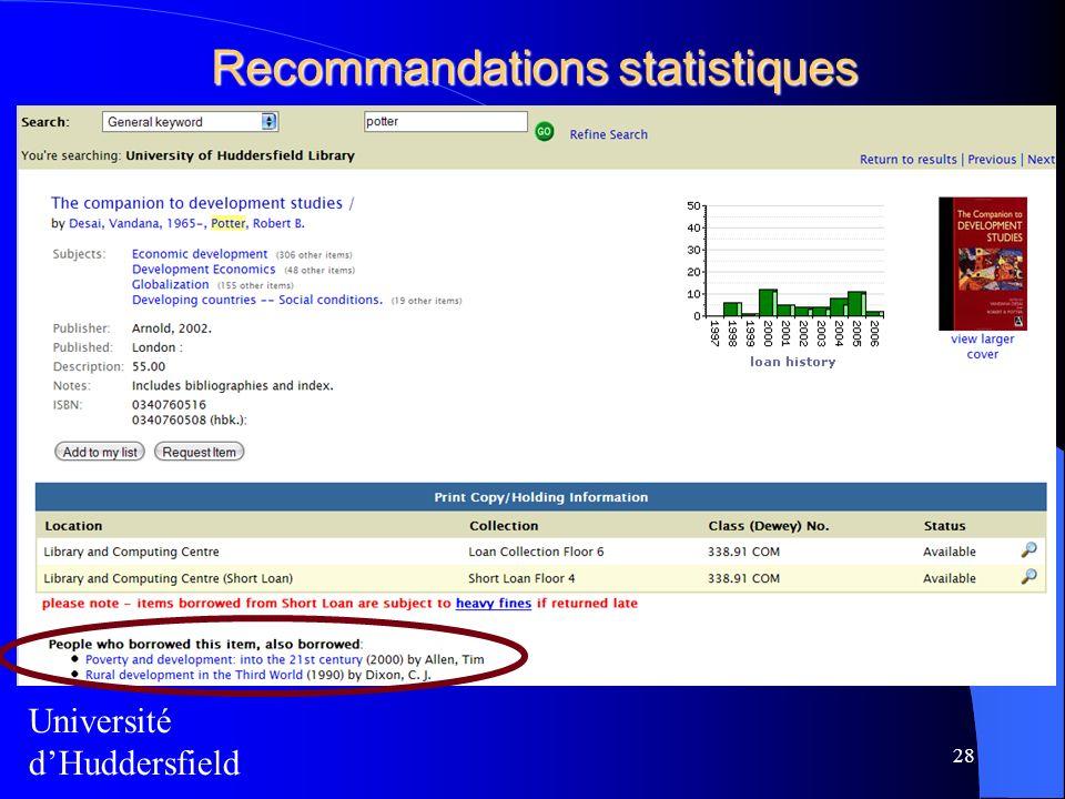 Recommandations statistiques 28 Université dHuddersfield