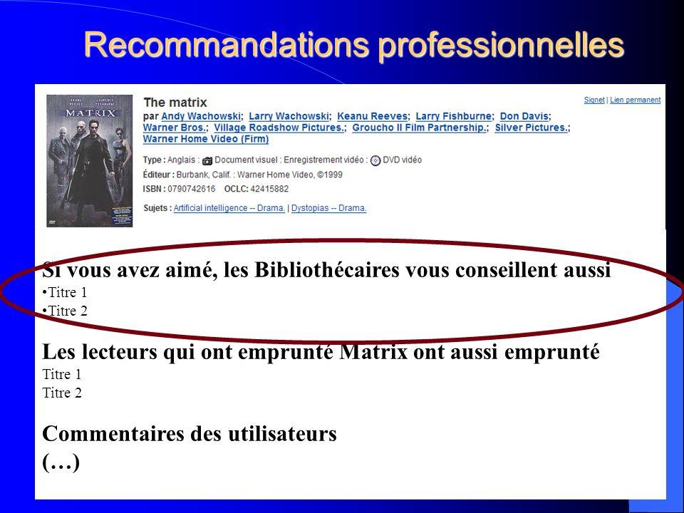 Recommandations professionnelles 31 Si vous avez aimé, les Bibliothécaires vous conseillent aussi Titre 1 Titre 2 Les lecteurs qui ont emprunté Matrix ont aussi emprunté Titre 1 Titre 2 Commentaires des utilisateurs (…)