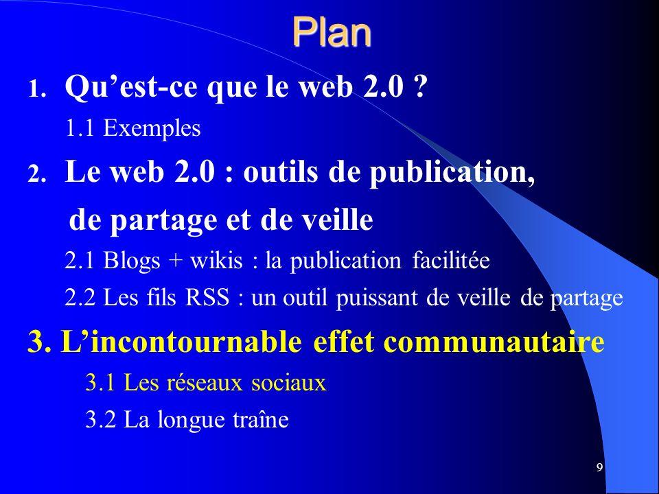 Plan 1. Quest-ce que le web 2.0 . 1.1 Exemples 2.