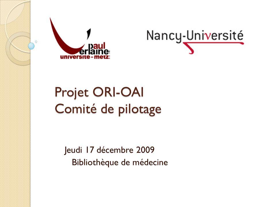 Projet ORI-OAI Comité de pilotage Jeudi 17 décembre 2009 Bibliothèque de médecine