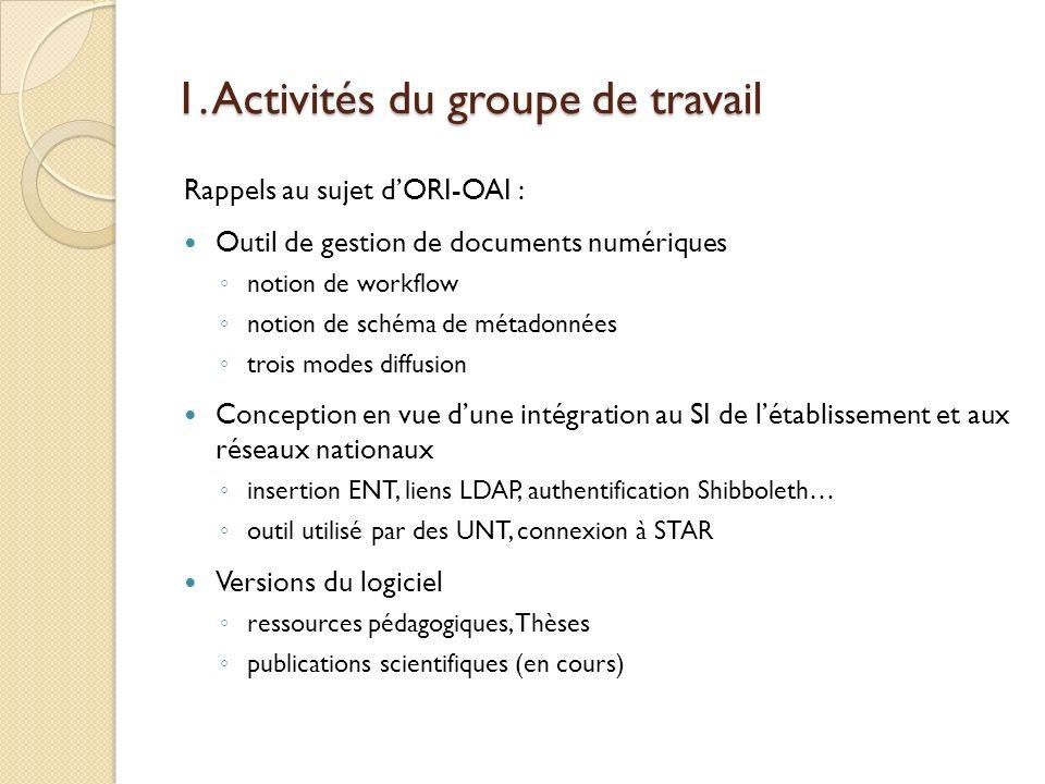 1. Activités du groupe de travail Rappels au sujet dORI-OAI : Outil de gestion de documents numériques notion de workflow notion de schéma de métadonn