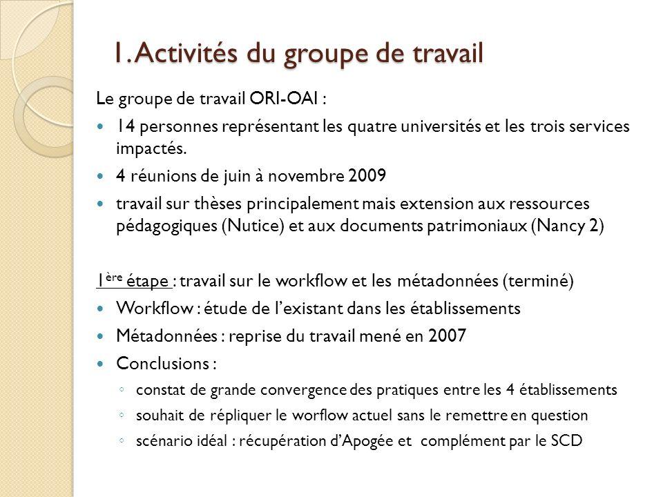 1. Activités du groupe de travail Le groupe de travail ORI-OAI : 14 personnes représentant les quatre universités et les trois services impactés. 4 ré
