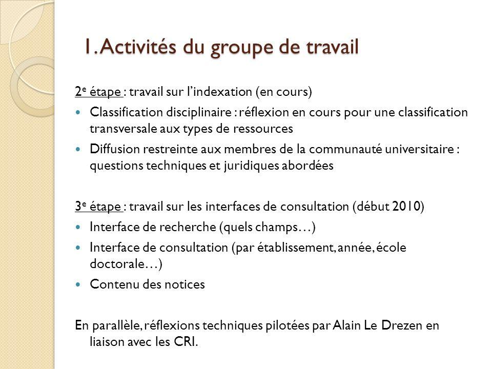 1. Activités du groupe de travail 2 e étape : travail sur lindexation (en cours) Classification disciplinaire : réflexion en cours pour une classifica