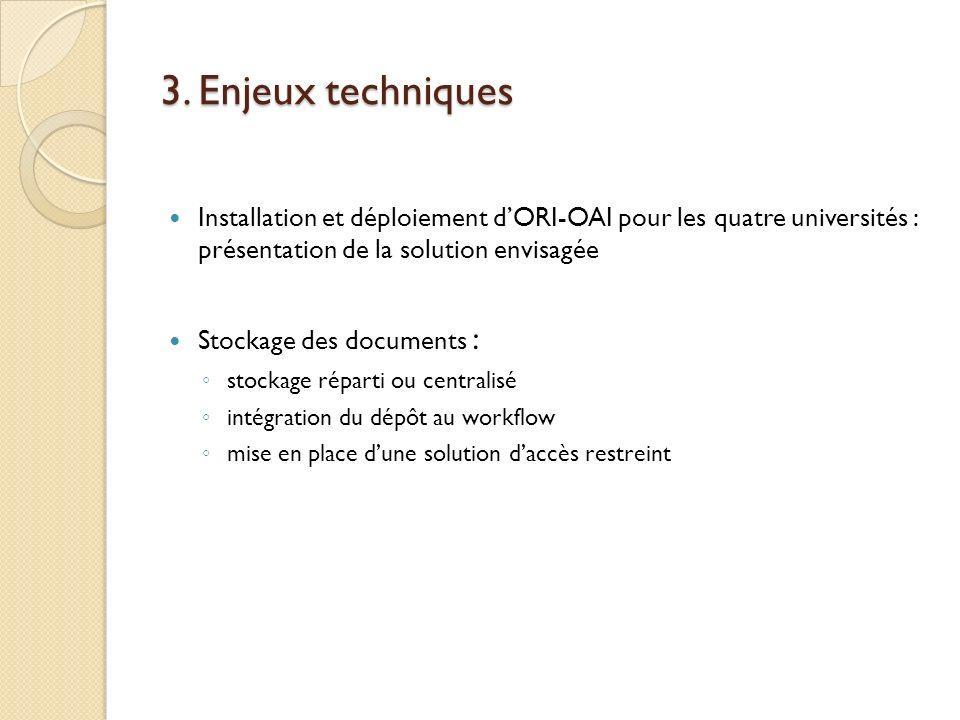 3. Enjeux techniques Installation et déploiement dORI-OAI pour les quatre universités : présentation de la solution envisagée Stockage des documents :