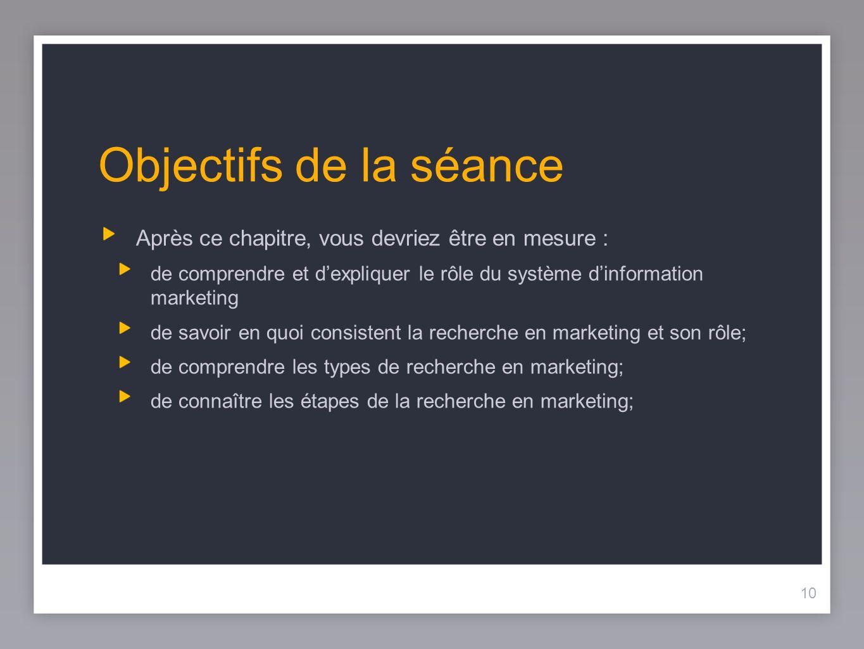 10 Objectifs de la séance Après ce chapitre, vous devriez être en mesure : de comprendre et dexpliquer le rôle du système dinformation marketing de savoir en quoi consistent la recherche en marketing et son rôle; de comprendre les types de recherche en marketing; de connaître les étapes de la recherche en marketing; 10