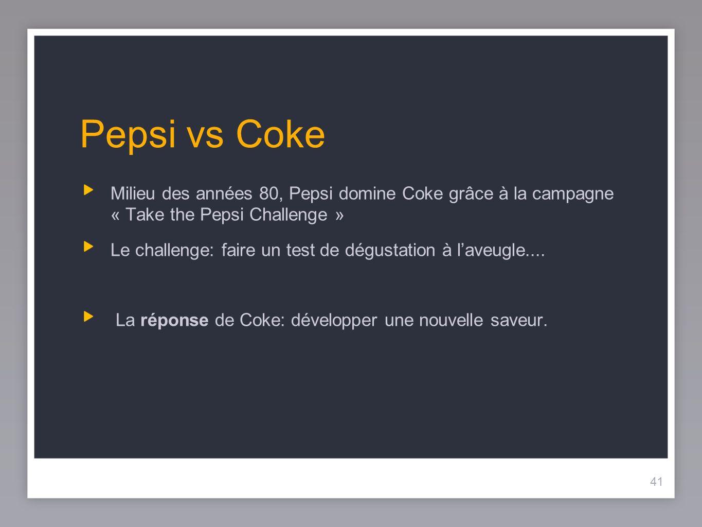 41 Pepsi vs Coke Milieu des années 80, Pepsi domine Coke grâce à la campagne « Take the Pepsi Challenge » Le challenge: faire un test de dégustation à laveugle....