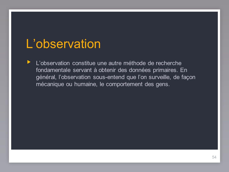 54 Lobservation Lobservation constitue une autre méthode de recherche fondamentale servant à obtenir des données primaires.
