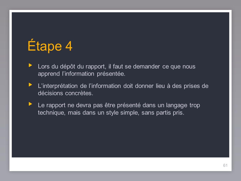 61 Étape 4 Lors du dépôt du rapport, il faut se demander ce que nous apprend linformation présentée.