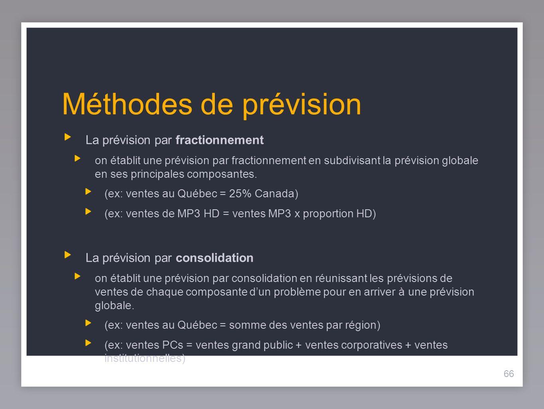 66 Méthodes de prévision La prévision par fractionnement on établit une prévision par fractionnement en subdivisant la prévision globale en ses principales composantes.