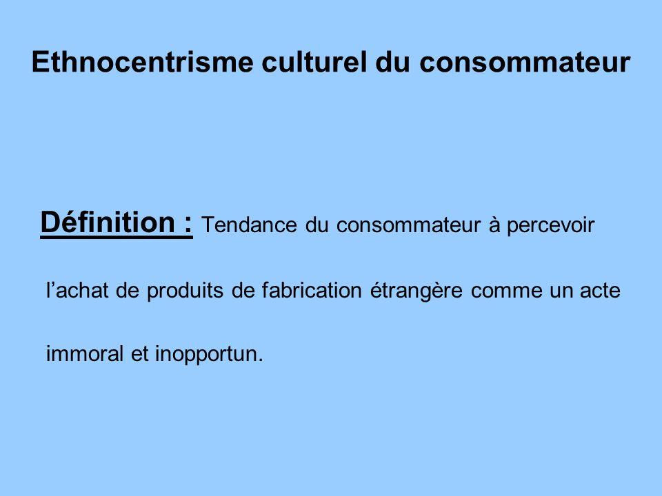 Ethnocentrisme culturel du consommateur Définition : Tendance du consommateur à percevoir lachat de produits de fabrication étrangère comme un acte im