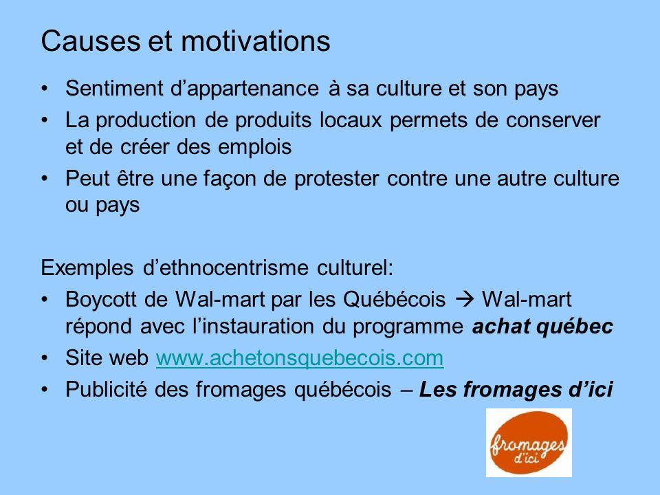 Causes et motivations Sentiment dappartenance à sa culture et son pays La production de produits locaux permets de conserver et de créer des emplois P