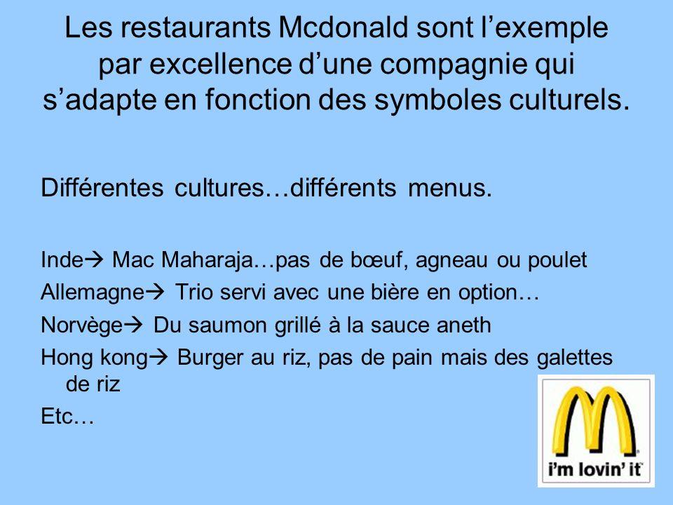 Les restaurants Mcdonald sont lexemple par excellence dune compagnie qui sadapte en fonction des symboles culturels. Différentes cultures…différents m