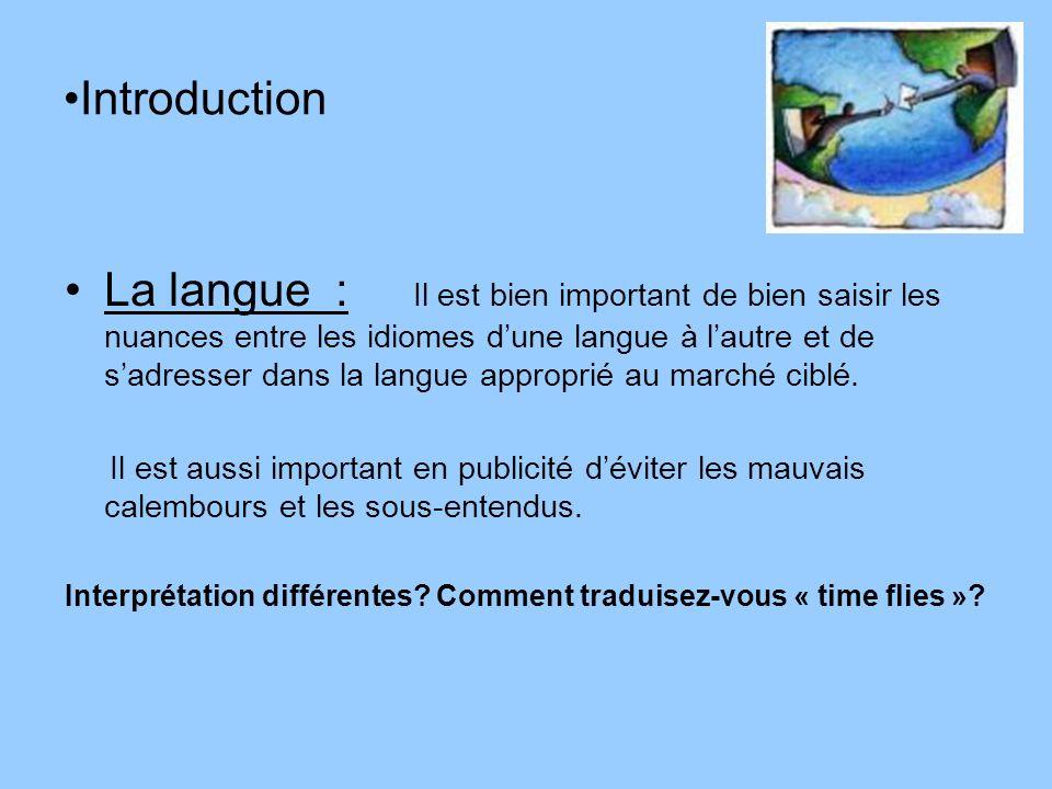 Introduction La langue : Il est bien important de bien saisir les nuances entre les idiomes dune langue à lautre et de sadresser dans la langue approp