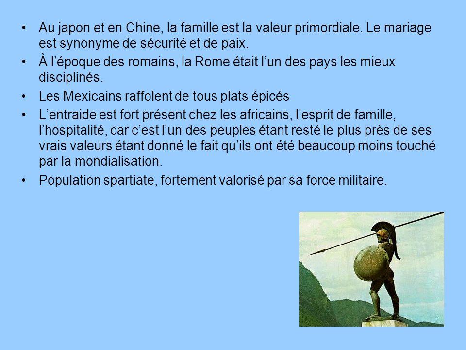 Au japon et en Chine, la famille est la valeur primordiale. Le mariage est synonyme de sécurité et de paix. À lépoque des romains, la Rome était lun d