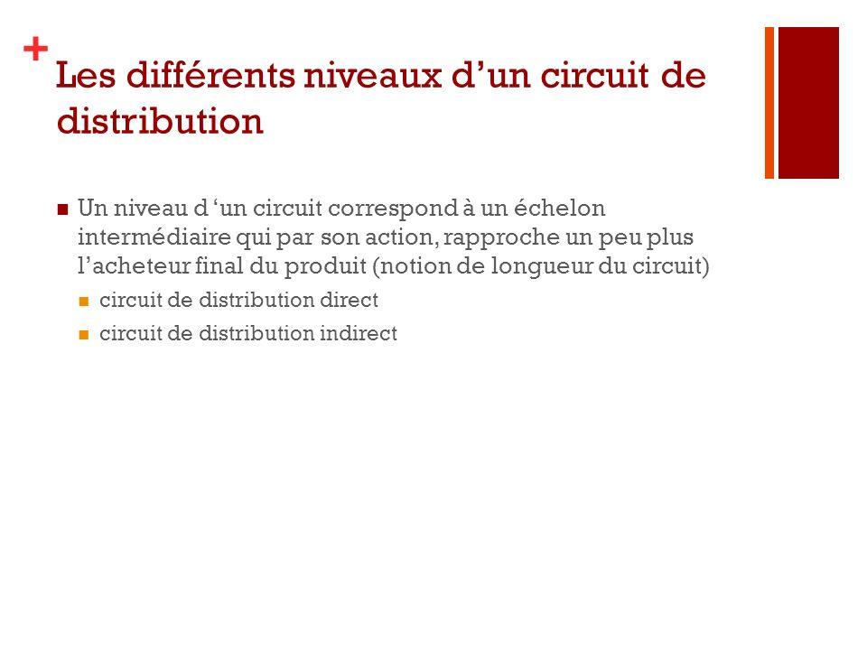 + Les différents niveaux dun circuit de distribution Un niveau d un circuit correspond à un échelon intermédiaire qui par son action, rapproche un peu