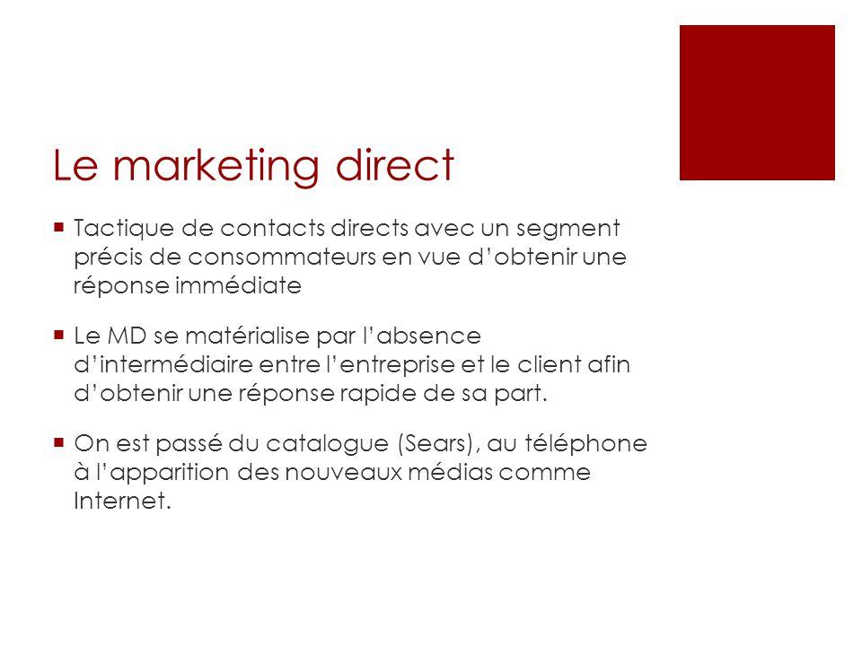 Tactique de contacts directs avec un segment précis de consommateurs en vue dobtenir une réponse immédiate Le MD se matérialise par labsence dinterméd
