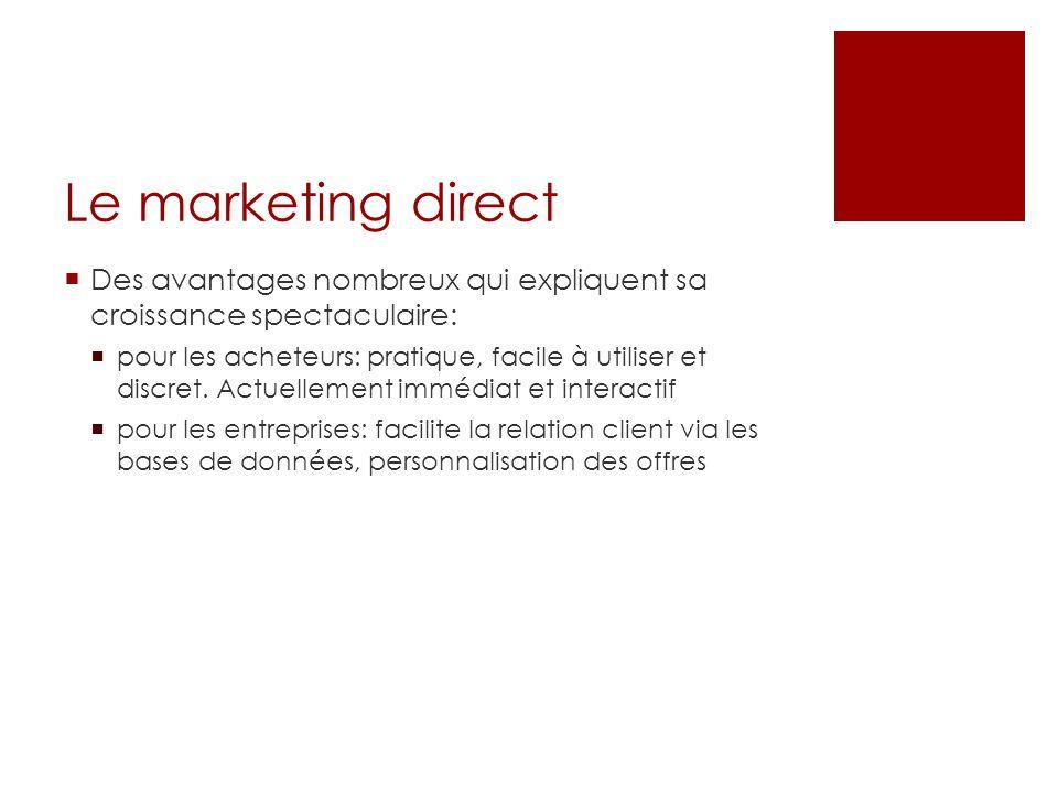 Le marketing direct Des avantages nombreux qui expliquent sa croissance spectaculaire: pour les acheteurs: pratique, facile à utiliser et discret. Act
