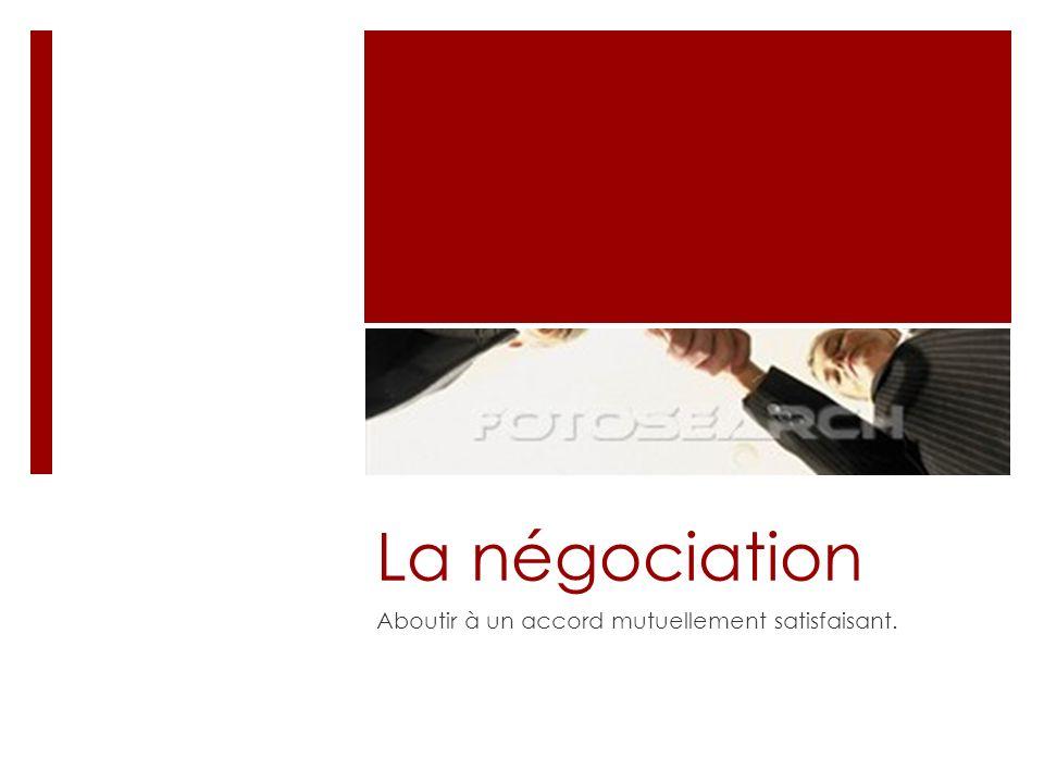 La négociation Aboutir à un accord mutuellement satisfaisant.