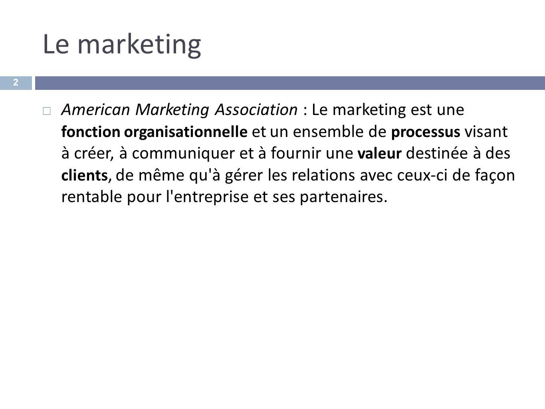 Le marketing American Marketing Association : Le marketing est une fonction organisationnelle et un ensemble de processus visant à créer, à communique