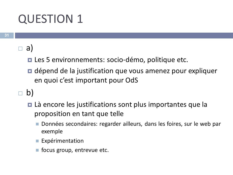 QUESTION 1 a) Les 5 environnements: socio-démo, politique etc. dépend de la justification que vous amenez pour expliquer en quoi cest important pour O