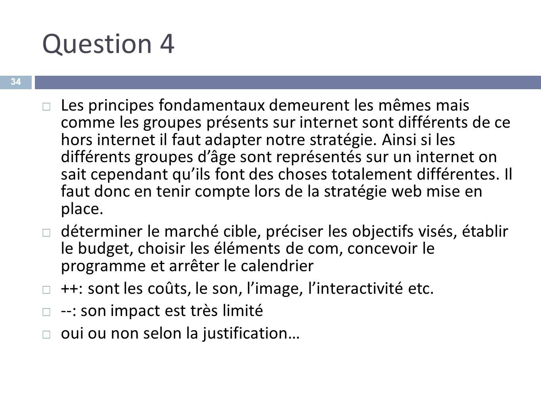 Question 4 Les principes fondamentaux demeurent les mêmes mais comme les groupes présents sur internet sont différents de ce hors internet il faut ada
